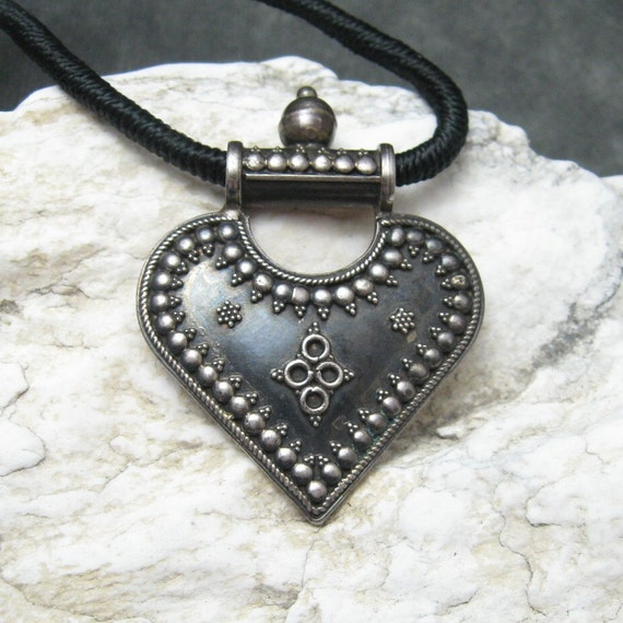 RESERVED Etruscan Sterling Heart Pendant Large Necklace