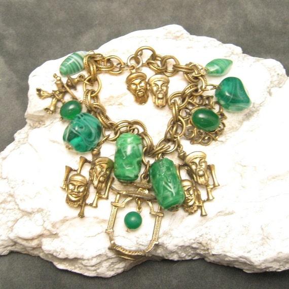 Vintage Charm Bracelet Asian Themed Chunky B4085