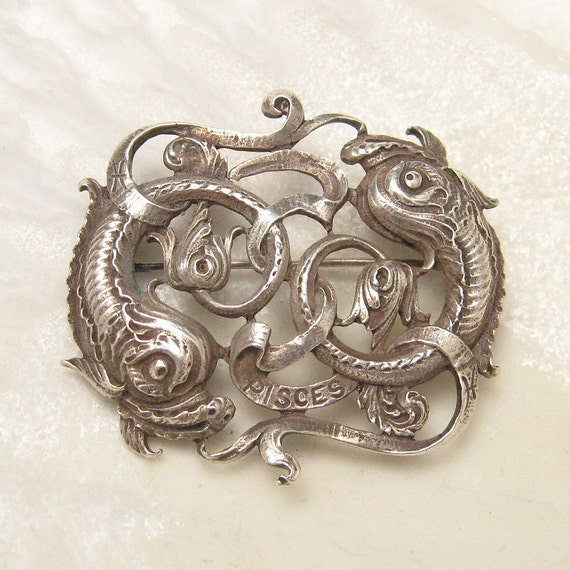 RESERVED Cini Sterling Pisces Brooch P4262