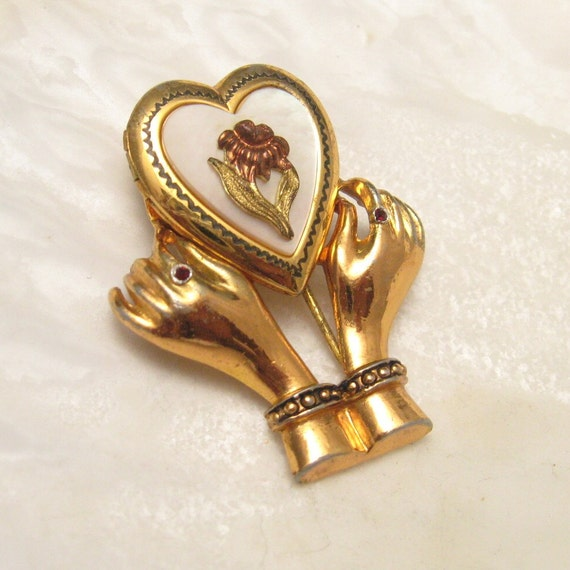 Vintage Fur Clip Heart Locket in Hands P4312