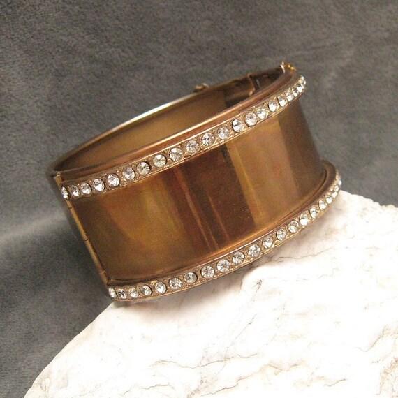 Wide Rhinestone Bracelet Hinged Bangle  B4318