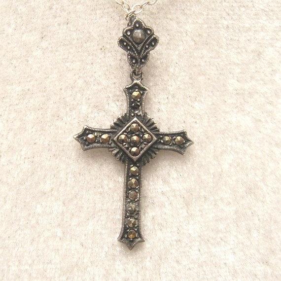 Vintage Sterling Cross Necklace Marcasites 1930s N4322