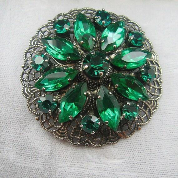 Vintage Rhinestone Brooch Green Pin Large PN66