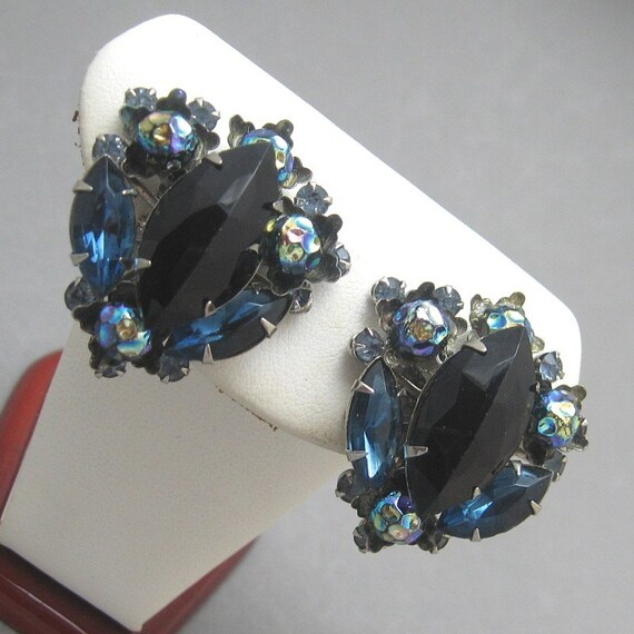 Judy Lee Rhinestone Earrings Midnight Serenade E1027