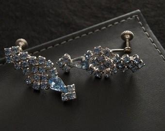 Vintage Blue Crystal Screw Back Earrings