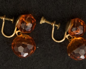 Vintage Plastic Amber Bead Earrings