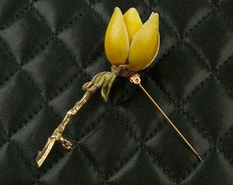Vintage Enamel Yellow Rose Brooch