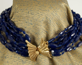 Gorgeous Vogue Multi-Strand Necklace in Navy
