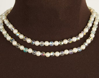 Vintage Double Strand Crystal and Faux Pearl Necklace