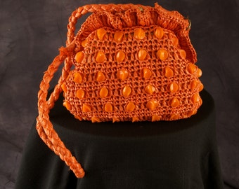 Vintage Orange Straw Purse with Beads by Masid