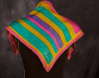 Vintage Vera Silk Scarf in Bold Colors