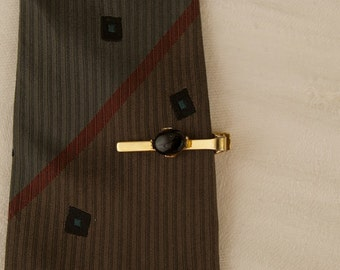 Vintage Tie Bar with Black Stone