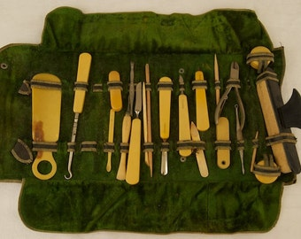 Antique French Ivory Brand Manicure Set