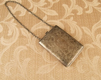 SALE WAS 190 Antique Sterling Silver Compact Dancing Purse