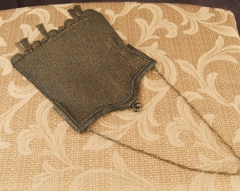 SALE WAS 300 Antique Whiting and Davis Fringed Mesh Purse