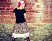 Tiered skirt, girl's skirt, bohemian skirt, boho, vintage skirt, Autumn skirt, Fall skirt, Lace underskirt, Black rose, Newborn through 8Y
