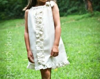 Beach dress, flower girl dress, bohemian dress, vintage dress, pillowcase dress, Girls summer dress, BOHO dress, wedding dress, Fall dress