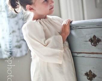 Girls peasant dress - girls dresses - boho dress - boho dress baby - ivory dress - bohemian dress - boho flower girl dress - tunic dress