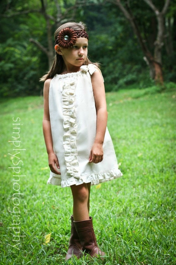 Beach dress, flower girl dress, bohemian dress, vintage dress, pillowcase dress, Girls summer dress, BOHO dress, wedding dress, Fall dress