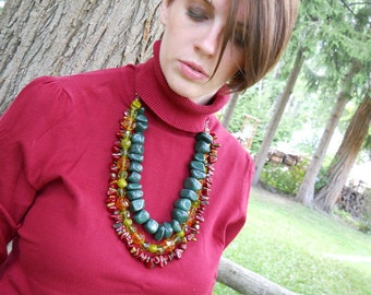 Foliage necklace- multi-strand, red, green, orange, brown, jade, peridot, tiger eye