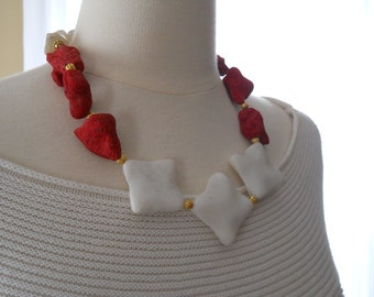 Snowflower necklace - red coral, white jade, grey agate
