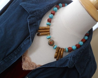 Mayan Ruins necklace - turquoise, red, gold, jasper, magnesite, brass, branch coral