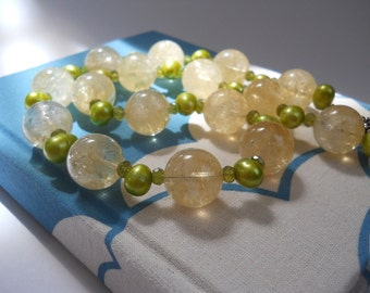 Daffodil Days necklace - November birthday - yellow citrine, green pearls, vesuvianite/idocrase