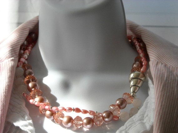 Sunset Beach necklace - pearls, Hill Tribe silver, glass, pink, white, silver, sea shell
