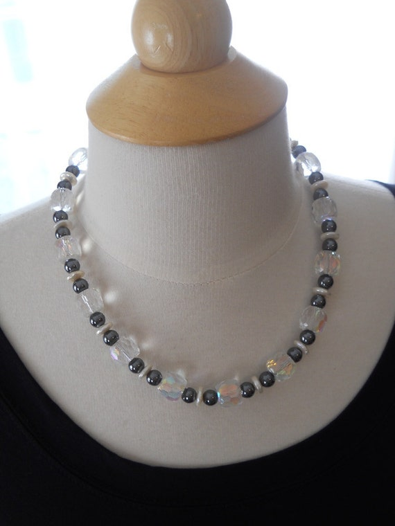 Solstice necklace - hematite, pearl, Czech glass, metallic, grey, white