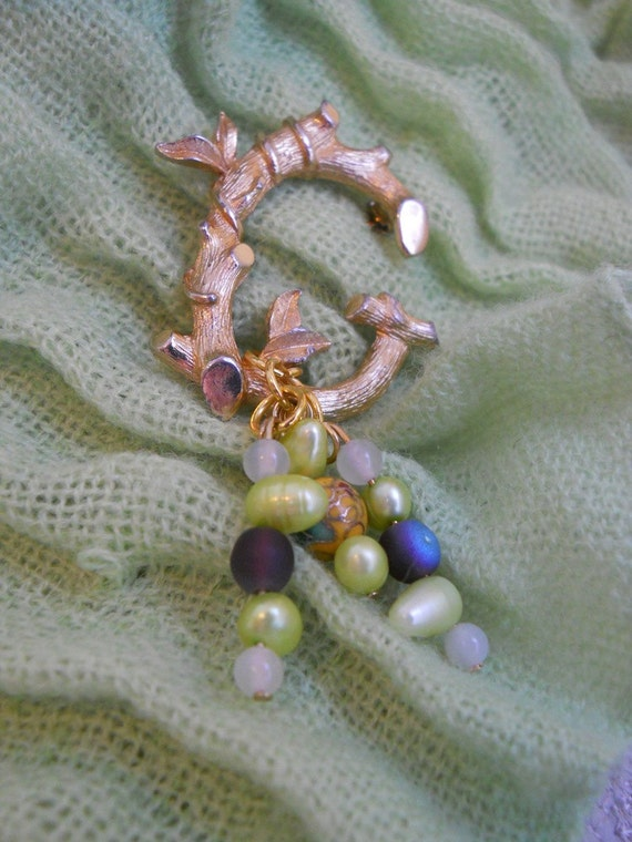 G is for Gorgeous brooch- upcycled vintage initial pin, green pearl, purple, jade, cloissone