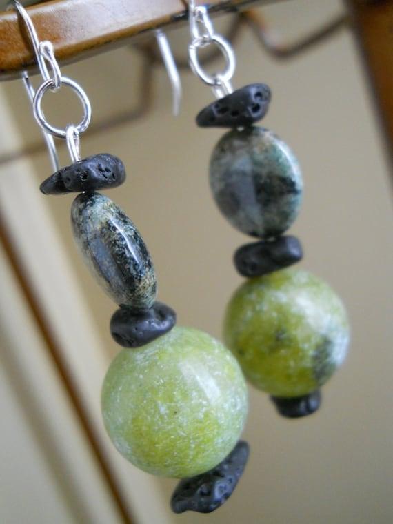 Her Explosive Nature earrings - serpentine, lava, fireworks jasper, green, black