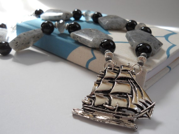 She Walked the Plank with Grace and Poise necklace -pirate ship brooch, onyx, chalcedony, quartz.