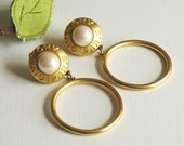 Vintage Givenchy Satin Gold Hoop Earrings Pearl Cabochon - clip ons Designer Brand Logo