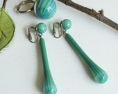 Vintage Blue Green Striped Earrings & Ring - Mod Marbles