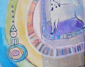 Dog Portal  6 x 4 inches  -  watercolor  by Tobin