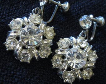 Vintage 1960's rhinestone earrings, 2 pairs - clear rhinestone and silver tone clip earrings
