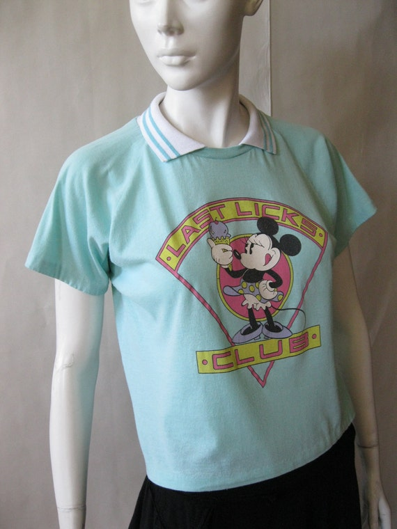 1980's Minnie Mouse 'Last Licks Club' cropped tshirt with striped collar, in turquoise, white, pink, black, purple, and yellow, medium