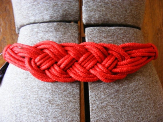 vintage braided belt in red with gold clasp