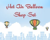 Premade Shop Banner Set- Hot Air Balloons over City Skyline