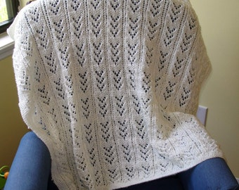 Knit4aCure Ivory baby blanket
