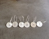Modern Hand Stamped Wine Charms - set of 6 Letters (A-F)