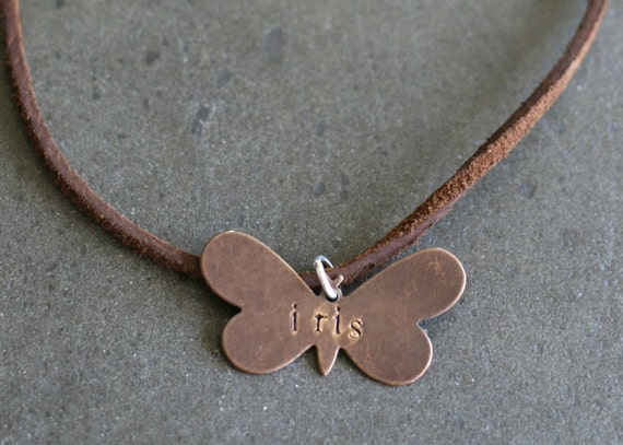 Kids Personalized Butterfly Necklace on Leather