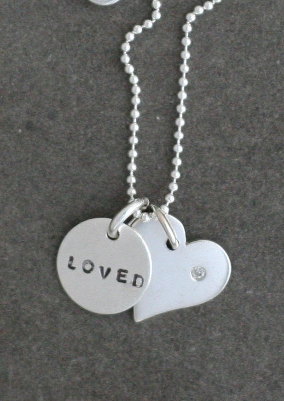 "New ""Loved"" Necklace - Sterling Silver Heart with a 1pt Diamond and Hand Stamped Charm"