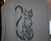 Cat design on Army Green colored tank top