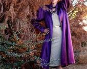 vintage 80s Purple Rain embossed satin overcoat