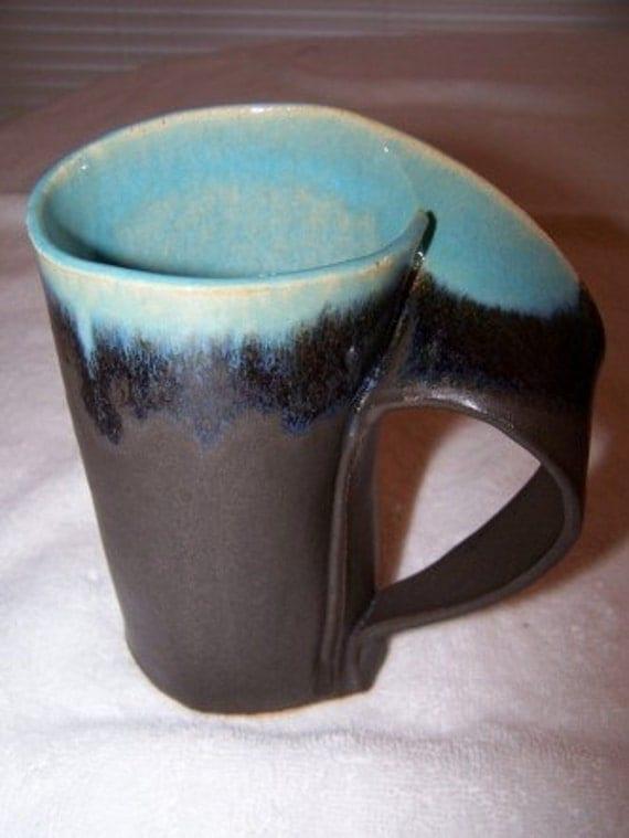 Panama red and tea dust slab built mug for Mug handle ideas