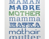 SALE -- Mother in Many Languages -- 8  x 10 inch screenprint
