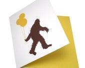 Happy Birthday Sasquatch -- Screenprinted Card