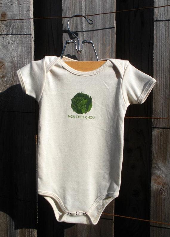 Mon Petit Chou -- Screenprinted American Apparel Organic Onesie -- 12-18 months