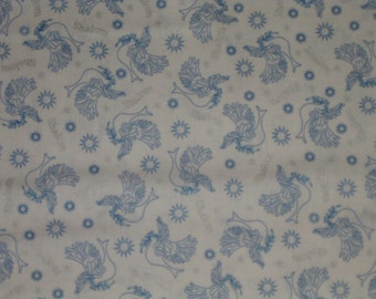 JEWISH fabric HANUKKAH Chanukah Shalom Doves cotton fabric by the  yard - white